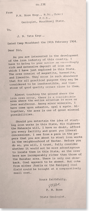P N Bose's letter